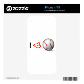 I heart & love baseball iPhone 4 decals
