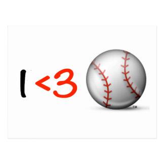 I heart & love baseball postcard