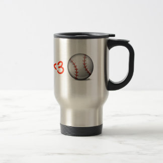 I heart & love baseball travel mug