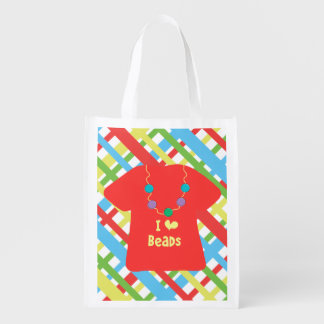 I heart (love) Beads - front and back Reusable Grocery Bag