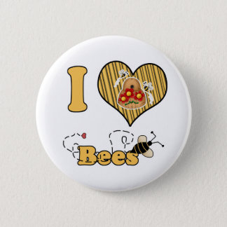 I Heart (Love) Bees with Hive Button