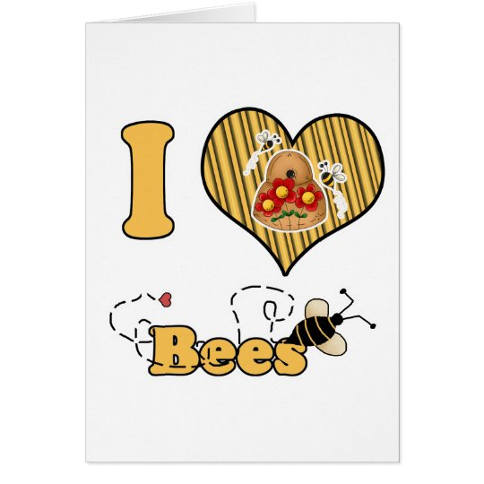 I Heart (Love) Bees with Hive Card