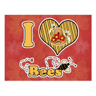 I Heart (Love) Bees with Hive Post Card