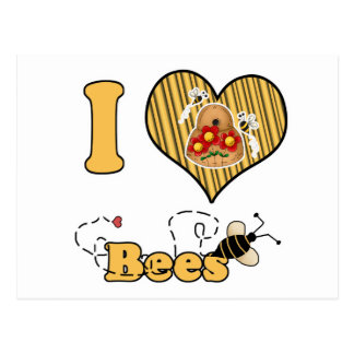 I Heart (Love) Bees with Hive Post Cards