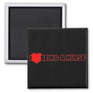 I Heart (Love) Being A Nurse 2 Inch Square Magnet