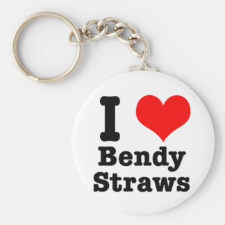 I HEART (LOVE) bendy straws Keychain