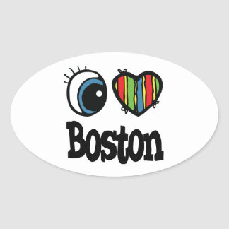 I Heart (Love) Boston Oval Sticker