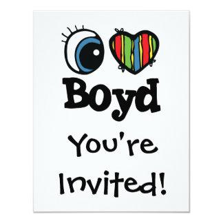 "I Heart (Love) Boyd 4.25"" X 5.5"" Invitation Card"