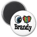 I Heart (Love) Brandy 2 Inch Round Magnet