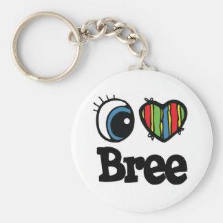 I Heart (Love) Bree Basic Round Button Keychain