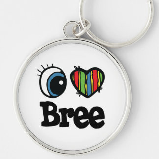 I Heart (Love) Bree Silver-Colored Round Keychain