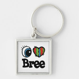 I Heart (Love) Bree Silver-Colored Square Keychain