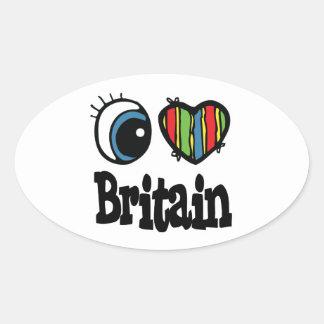 I Heart (Love) Britain Oval Sticker