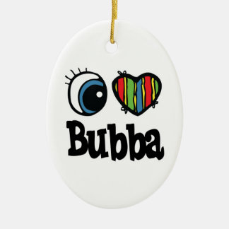 I Heart (Love) Bubba Double-Sided Oval Ceramic Christmas Ornament