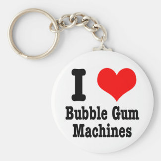 I HEART (LOVE) bubble gum machines Basic Round Button Keychain