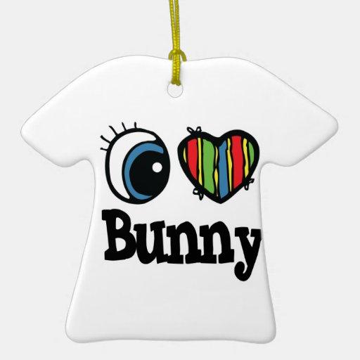 I Heart (Love) Bunny Christmas Ornaments