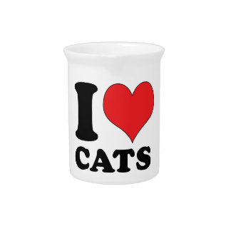 I Heart / Love Cats Beverage Pitcher