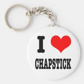 I HEART (LOVE) chapstick Basic Round Button Keychain