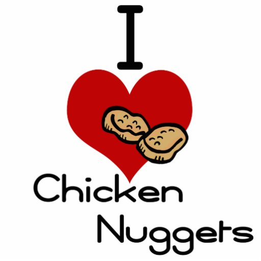 I heart-love chicken nuggets photo cutout