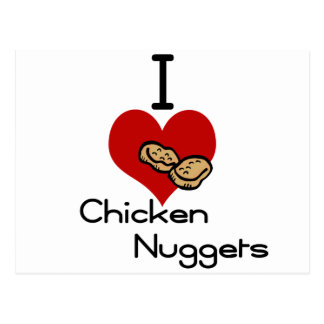 I heart-love chicken nuggets postcard