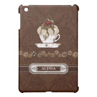 I Heart Love Chocolate Mousse Strawberry Design iPad Mini Covers