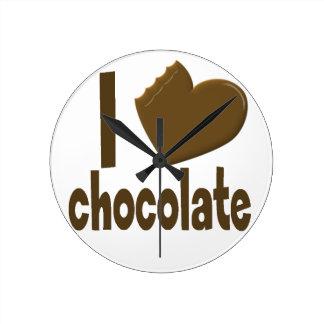I Heart Love Chocolate Round Clock