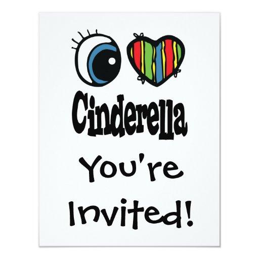 I Heart (Love) Cinderella 4.25x5.5 Paper Invitation Card