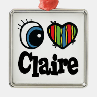 I Heart (Love) Claire Square Metal Christmas Ornament