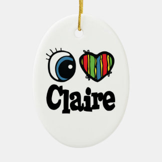 I Heart (Love) Claire Double-Sided Oval Ceramic Christmas Ornament