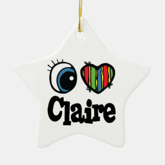 I Heart (Love) Claire Double-Sided Star Ceramic Christmas Ornament