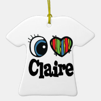 I Heart (Love) Claire Double-Sided T-Shirt Ceramic Christmas Ornament