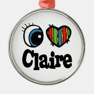 I Heart (Love) Claire Round Metal Christmas Ornament