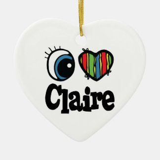 I Heart (Love) Claire Double-Sided Heart Ceramic Christmas Ornament