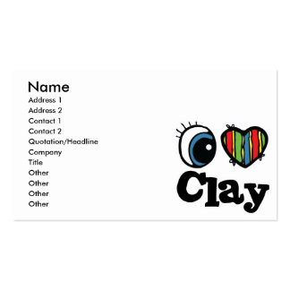 I Heart (Love) Clay Business Card Templates