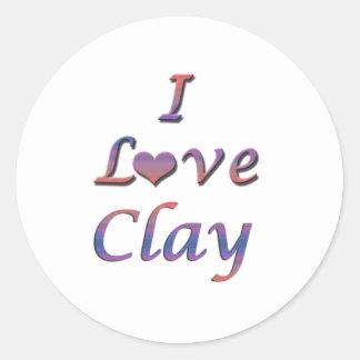 I Heart (Love) Clay Classic Round Sticker