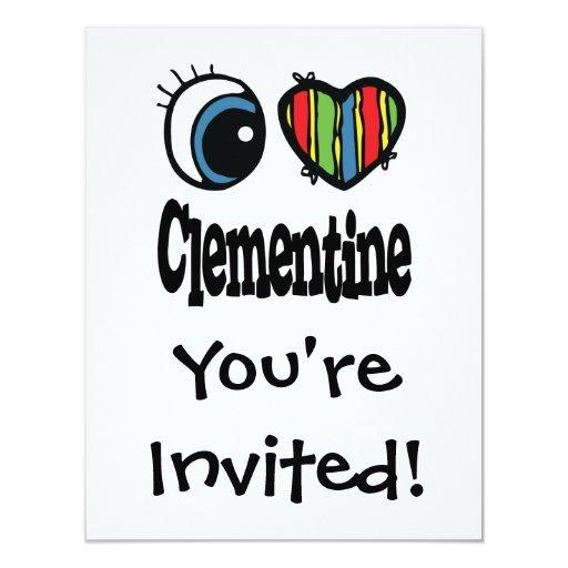 I Heart (Love) Clementine 4.25x5.5 Paper Invitation Card