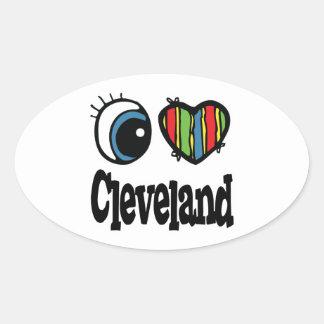 I Heart (Love) Cleveland Oval Sticker