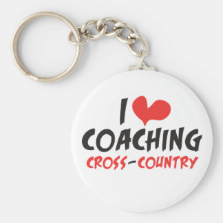 I heart (love) Coaching Cross Country Keychain