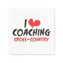 I heart (love) Coaching Cross Country Paper Napkin