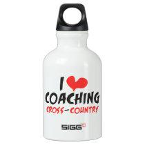 I heart (love) Coaching Cross Country Water Bottle