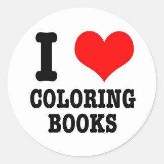 I HEART (LOVE) COLORING BOOKS STICKER
