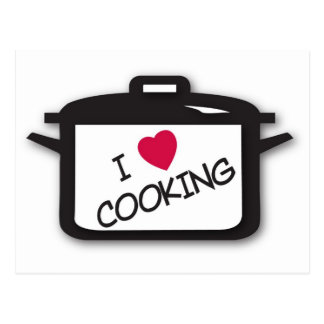 I Heart / Love Cooking Post Card