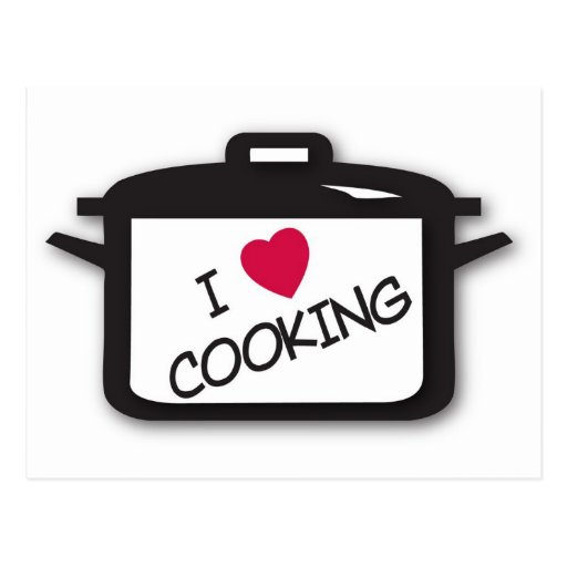 I Heart / Love Cooking Postcard