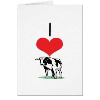 I Heart (Love) Cows Greeting Cards