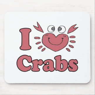 i heart love crabs cute heart shaped crab mouse pad
