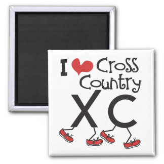 I heart (love) Cross Country Running XC 2 Inch Square Magnet