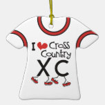I heart (love) Cross Country Running XC Jersey Ornament