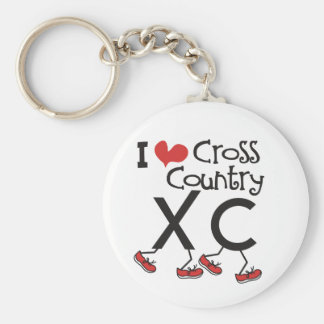 I heart (love) Cross Country Running XC Keychain