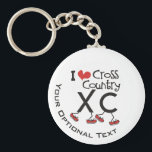 """I heart love Cross Country Running XC Personalized Keychain<br><div class=""""desc"""">Custom Text I heart Cross Country Running XC with the X-C wearing red running shoes.  A fun design for the Cross Country Runner,  Fan,  Coach or Parent!  Cute Sports themed gift people who run,  instruct or volunteer for cross country team meets.</div>"""