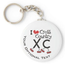I heart love Cross Country Running XC Personalized Keychain